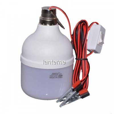 Bec LED 20W 12V Cablu cu Clesti Baterie Auto Glob Mat BEC12200C