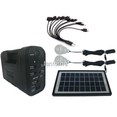 Kit cu Panou Solar, USB si Becuri LED, 6V 4Ah GD8017A