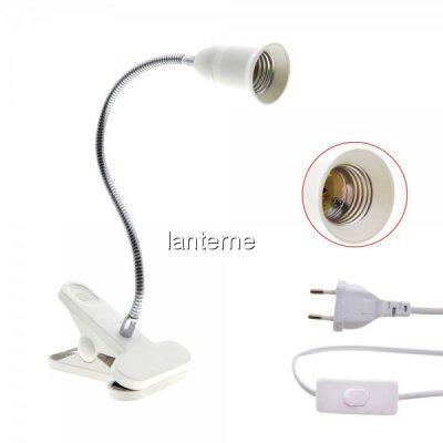 Lampa cu Brat Flexibil 35cm E27 Alimentare 220V 160cm Clips, On/Off