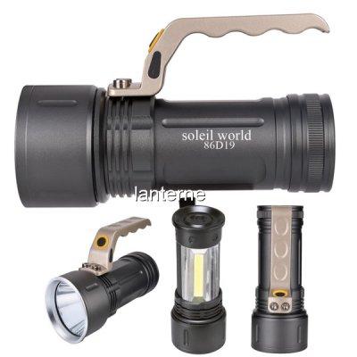 Lanterna LED si COB LED 3W cu Maner, Zoom, 2x18650 Soleil World 86D19