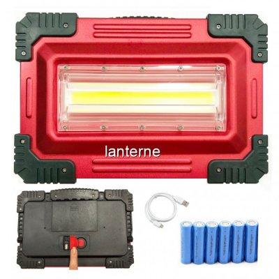 Proiector COB LED 30W cu 6 Acumulatori Incarcare USB, Slot USB W826