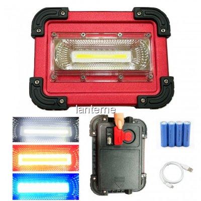 Proiector COB LED 30W cu Acumulatori, USB si Semnal Rosu Albastru W828