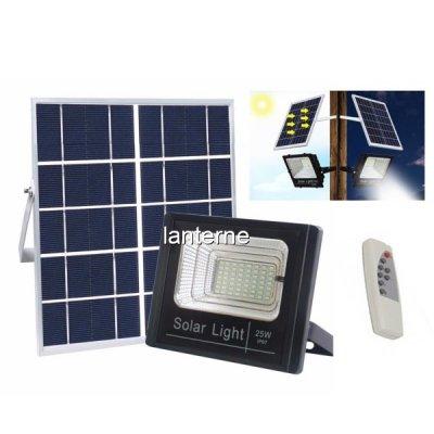 Proiector LED SMD 25W Alb Rece cu Panou Solar si Telecomanda IP67