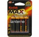 Set 4 Baterii Alcaline Kodak MAX, tip AA / LR6